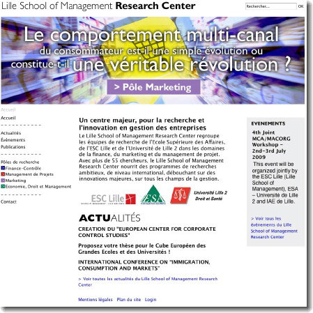 Page d'accueil du site web Lille School of Management Research Center - Création : Staminic